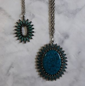 Two faux turquoise necklaces